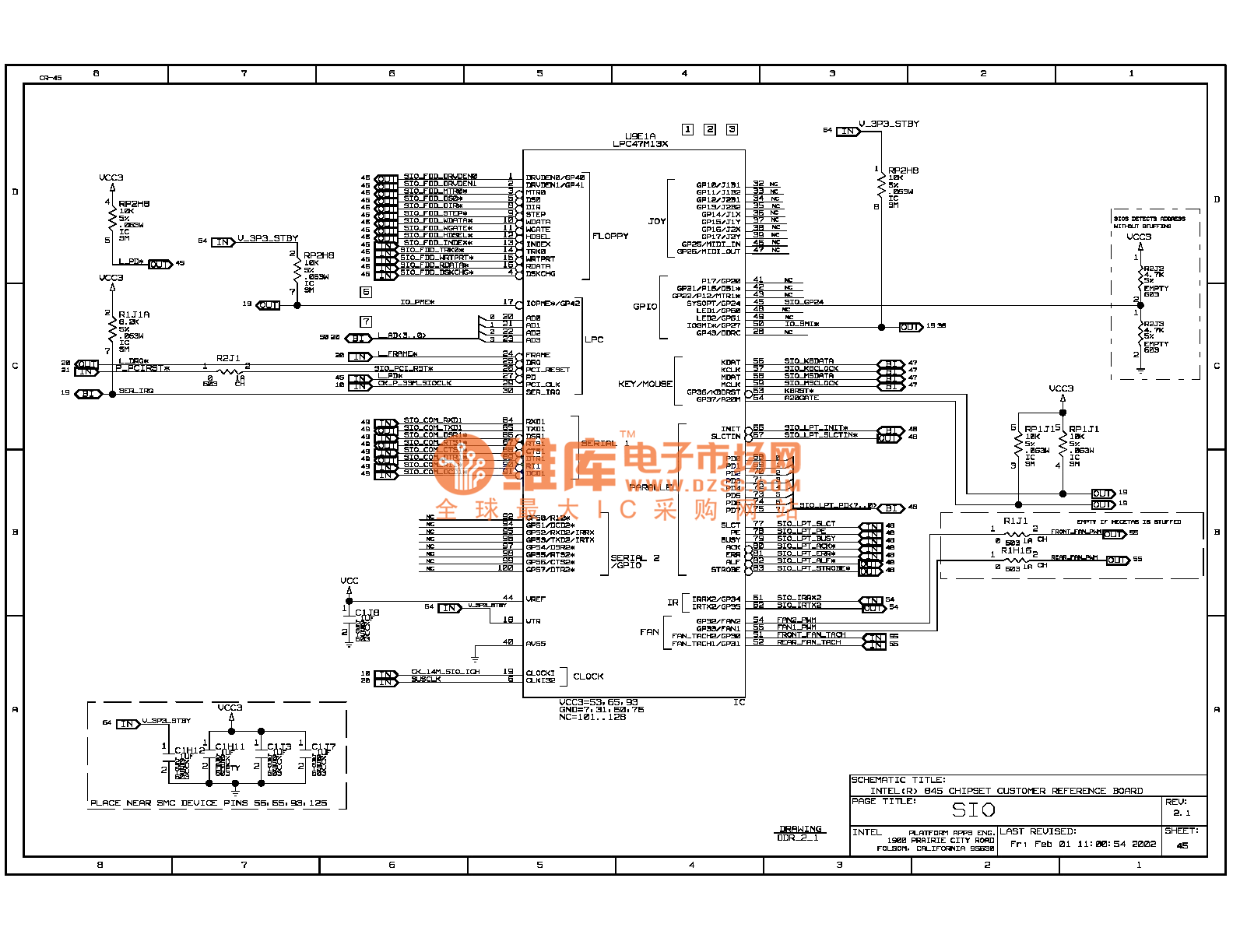 845ddr computer motherboard circuit diagram 45 - computer-related circuit
