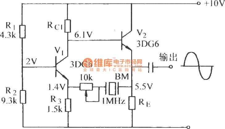 dual-tube quartz crystal oscillator - oscillator circuit - signal processing