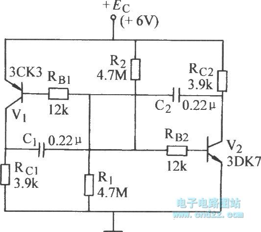 complementary tube self-excited multivibrator circuit - oscillator circuit