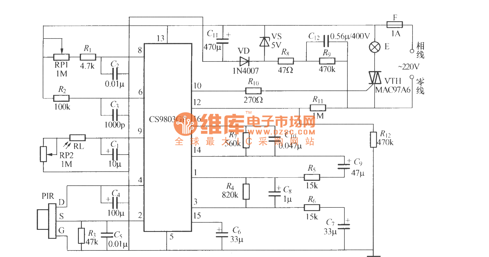 Pyroelectric Infrared Induction Automatic Lamp Circuit 4cs9803gp Wwwseekiccom Circuitdiagram Powersupplycircuit Negativevoltage
