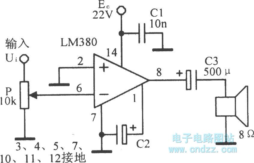 integrated audio power amplifier circuit lm380 - amplifier circuits-audio