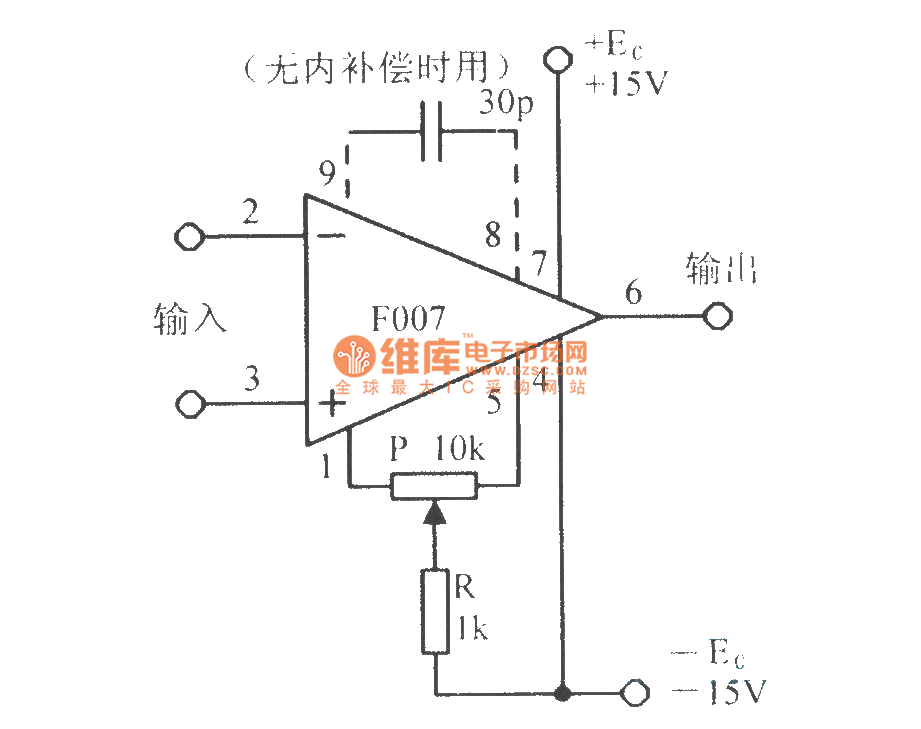 the basic application circuit of integrated operational amplifier f007 - basic circuit