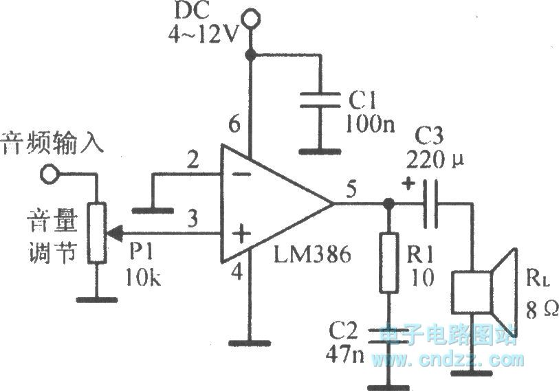 the lm386 typical application circuit