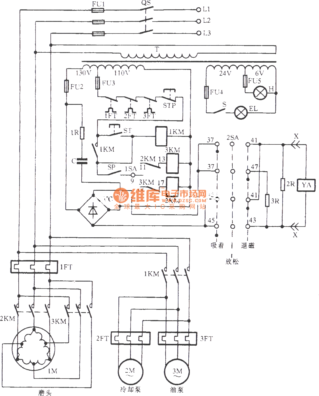 M7120a Surface Grinding Machine Control Circuit