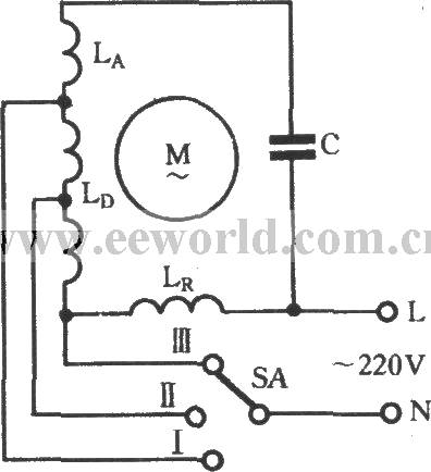 3 Phase Motor Winding Diagrams http://www.seekic.com/circuit_diagram/Basic_Circuit/The_winding_tap_L_2_connection_three_speed_circuit_of_single_phase_motor.html
