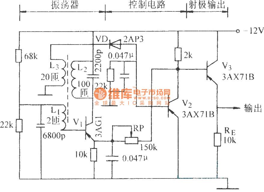 proximity-switch transistor - basic circuit - circuit diagram
