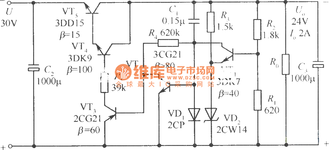 24v soft start regulated power supply circuit