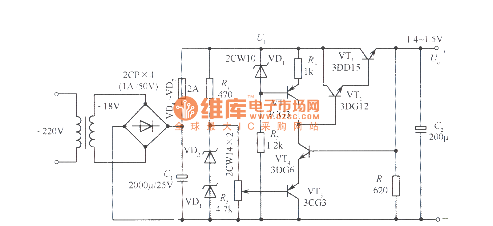 1 45v to 15v full sampling regulated power supply circuit