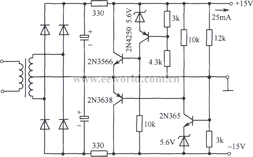 u00b115v bipolar parallel regulated voltage power supply circuit