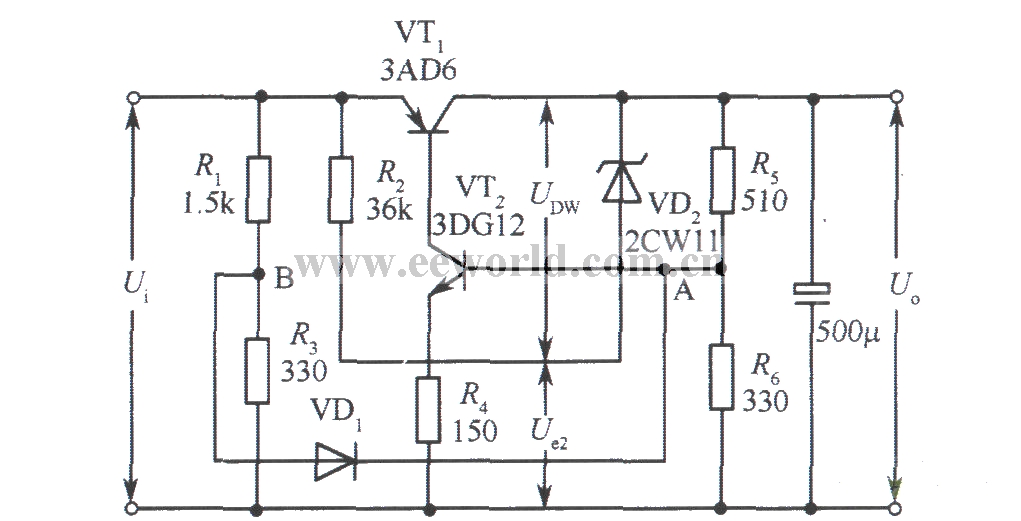 6v collector output regulated voltage power supply circuit