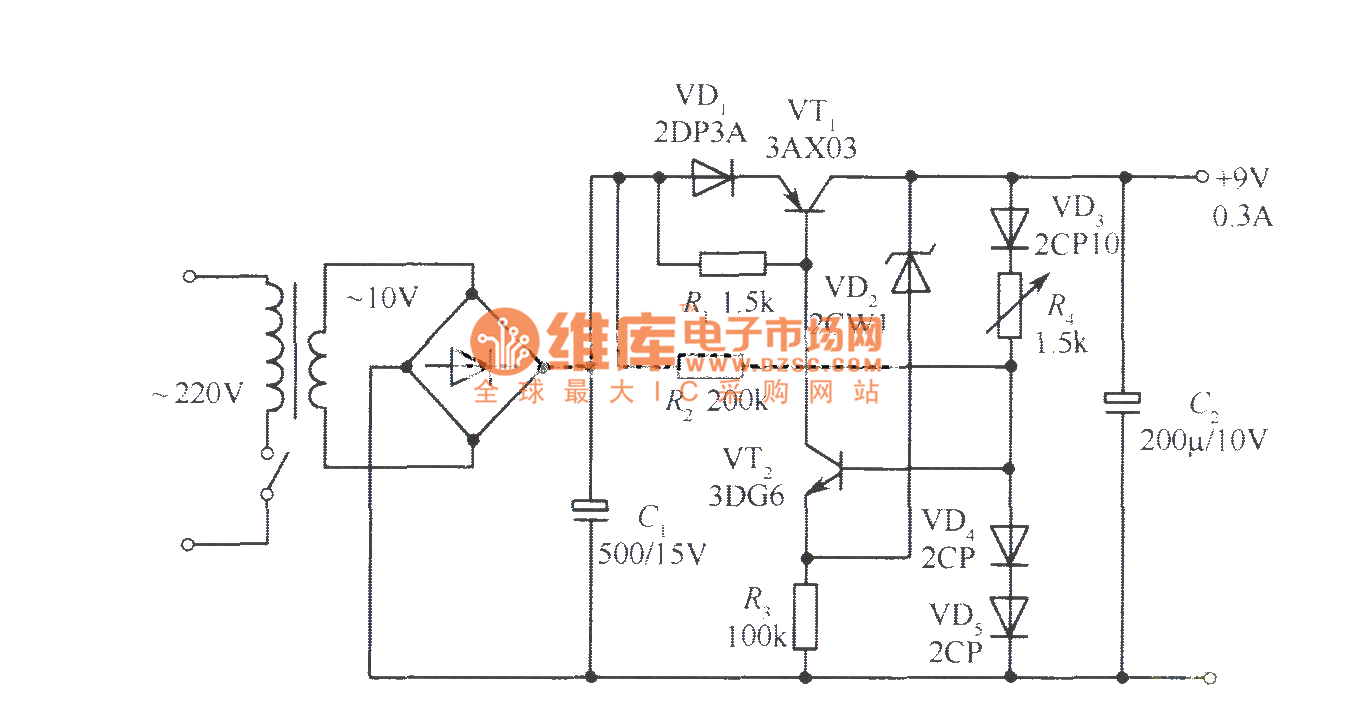 9v collector output regulated voltage power supply circuit - power supply circuit
