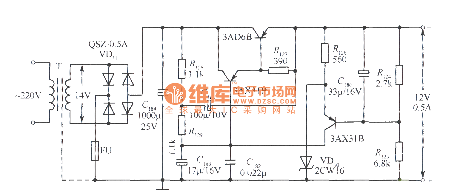 12v voltage stabilizer simple circuit no 4 - power supply circuit - circuit diagram