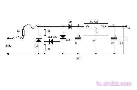 AC220V stabilivolt to DC5V Circuit on simple remote control diagram