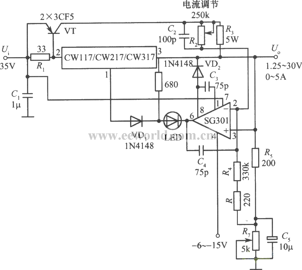 constant voltage  constant-current supply with cw117 - basic circuit - circuit diagram