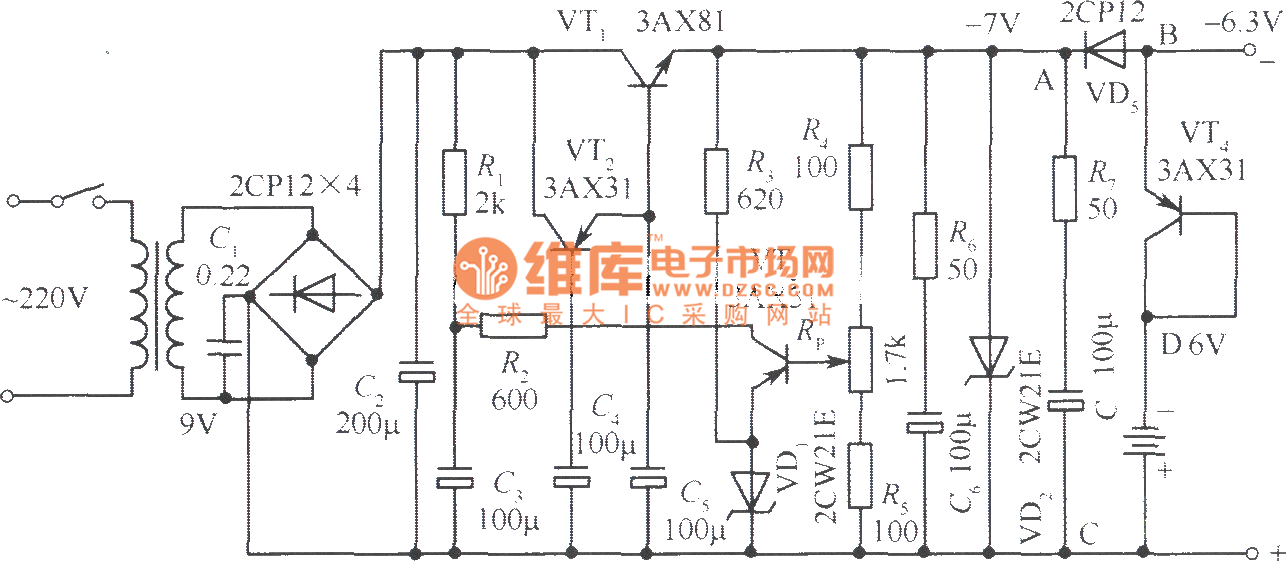 6v radio recorder ac  u0026 dc automatic switching regulated voltage power supply circuit