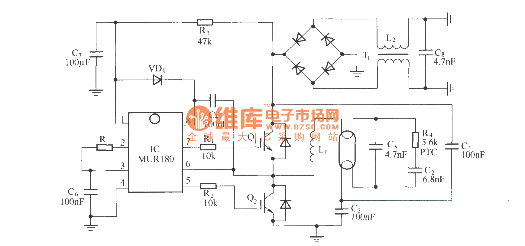 Http Wwwseekiccom Circuitdiagram Electricalequipmentcircuit Cfl Electronic Circuit Diagram Components Low Cost Ballast With Igbt Switch