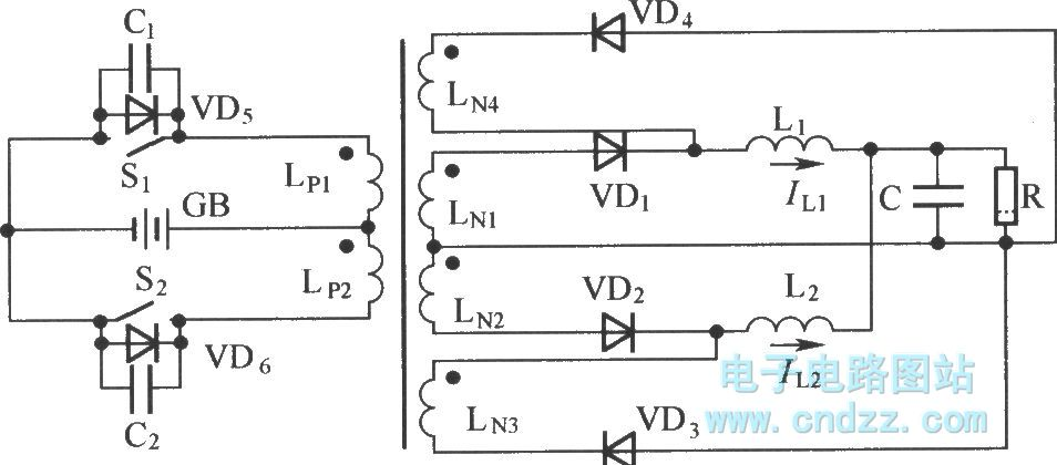 inductance split type push-pull commutation soft switch circuit - basic circuit