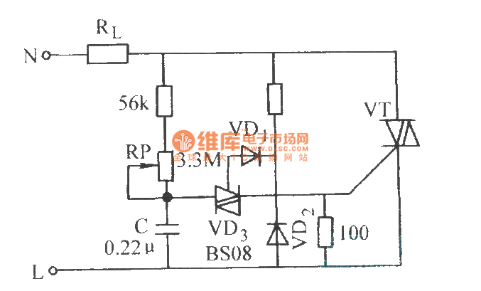 phase control circuit of bi-directional thyristor without hysteresis - control circuit