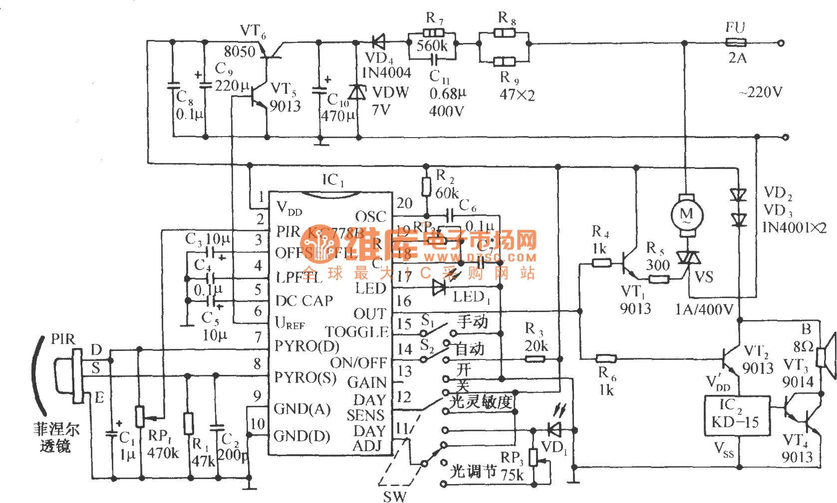 Infrared Sensing Automatic Door Control Circuit Diagram With Kc778b Threetonegenerator Signalprocessing Seekic