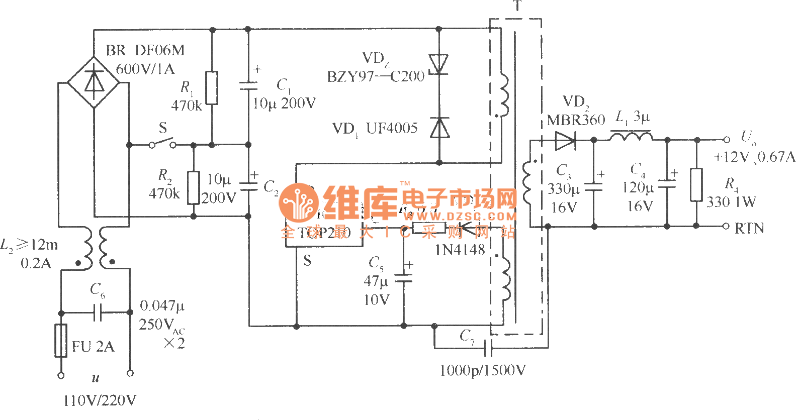 Switch voltage regulator circuit using 110V voltage doubling/220V  alternating voltage input