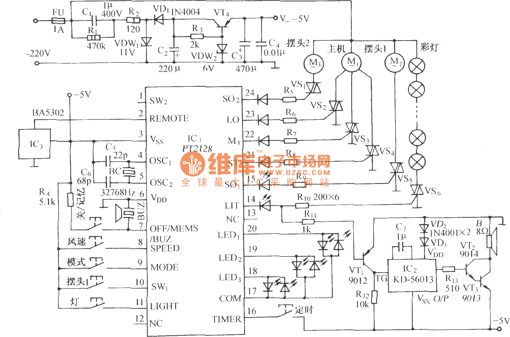 Using Pt2128 Pt2268 Function Remote Control Fan Circuit Diagram Laptop Wiring