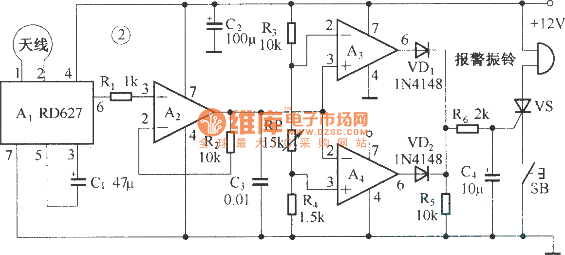 composed of rd627 microwave alarm circuit diagram - measuring and test circuit