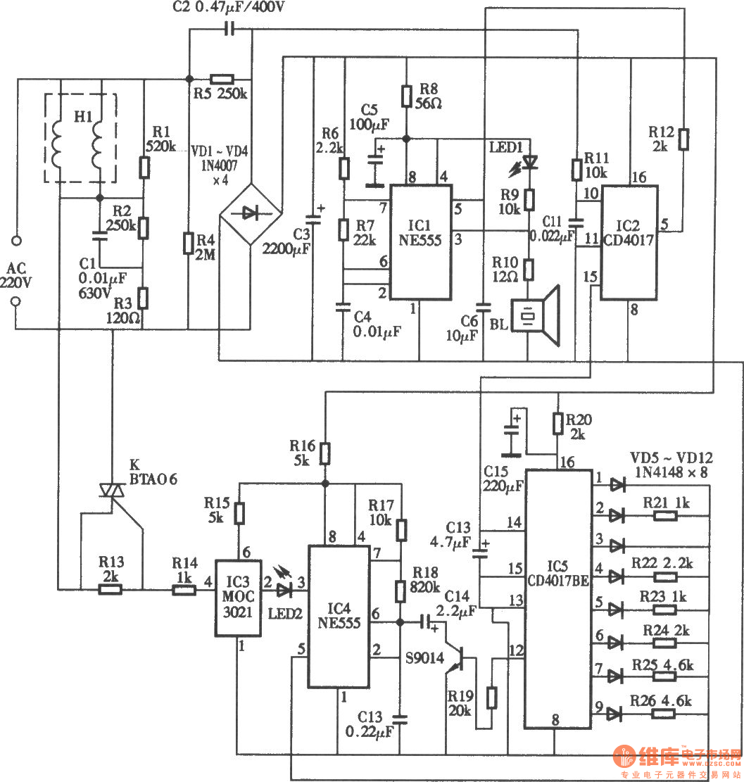 7w pest repeller circuit diagram - electrical equipment circuit - circuit diagram