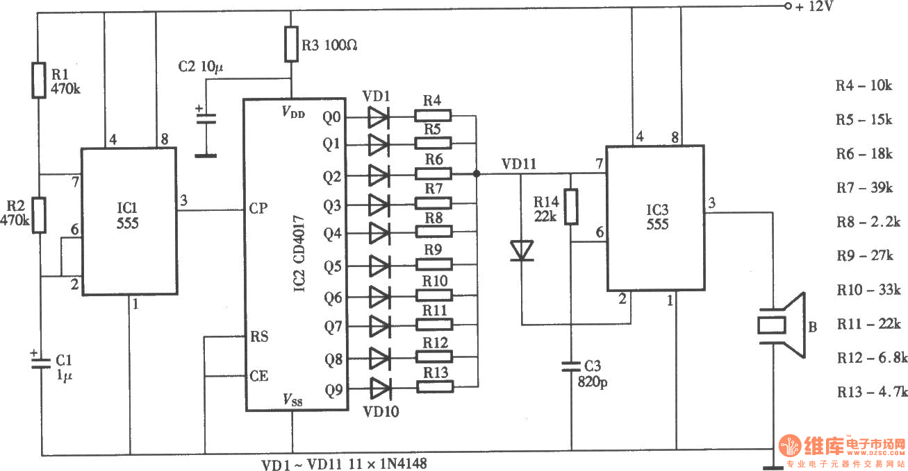 Ultrasonic pest repeller circuit diagram