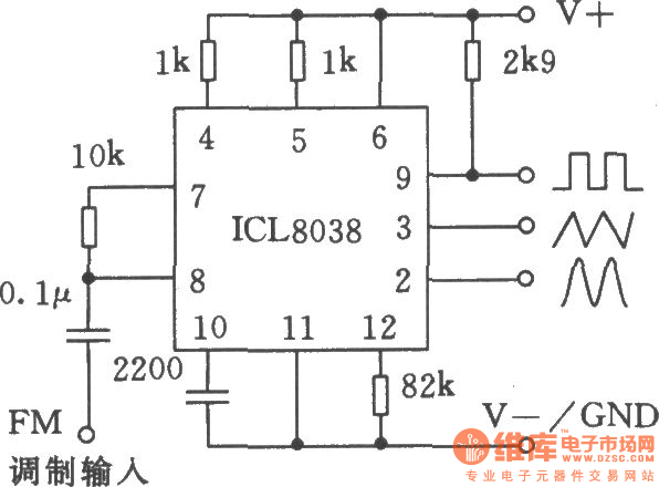 the applied circuit 1 of monolithic precision function generator icl8038
