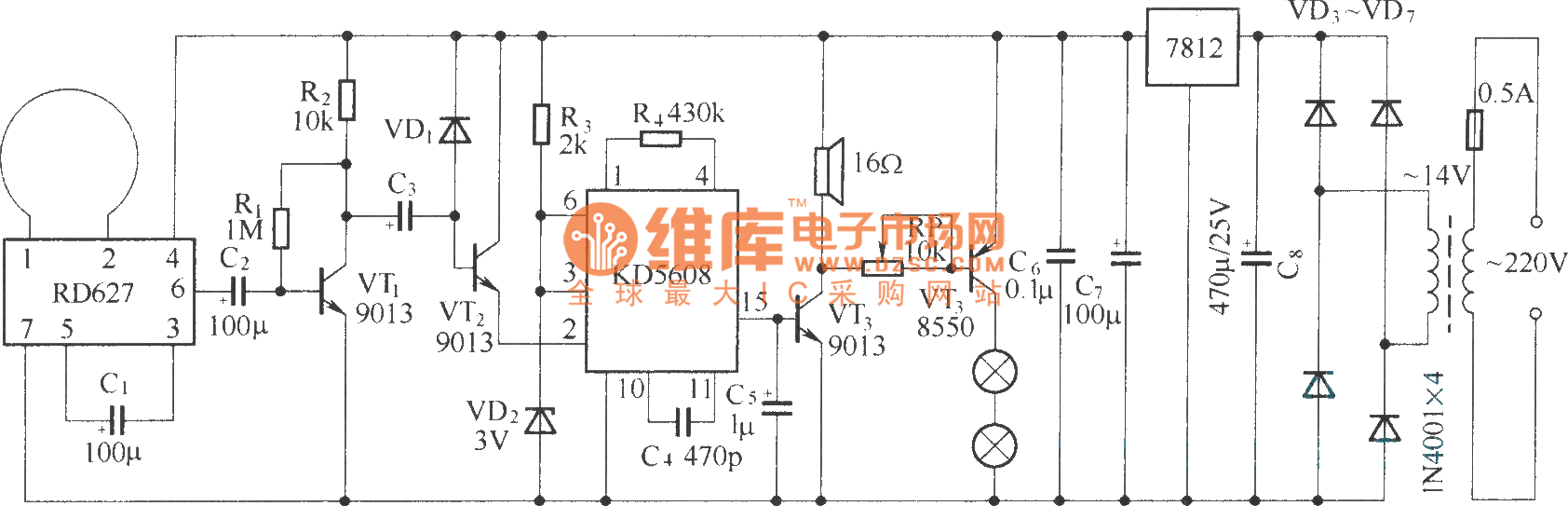 Home Guard Composed Of Rd627 Electronic Dog Control Circuit Thermometer2 Sensorcircuit Diagram Seekic