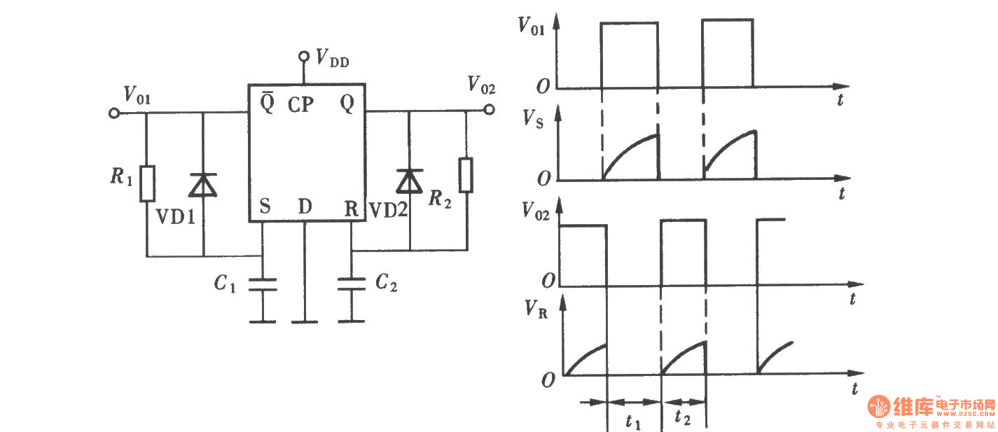 Monostable Flipflop Circuit 555circuit Diagram Seekic Data Index 3 Time Control The Multivibrator Composed Of D Flip Flop Oscillator Source