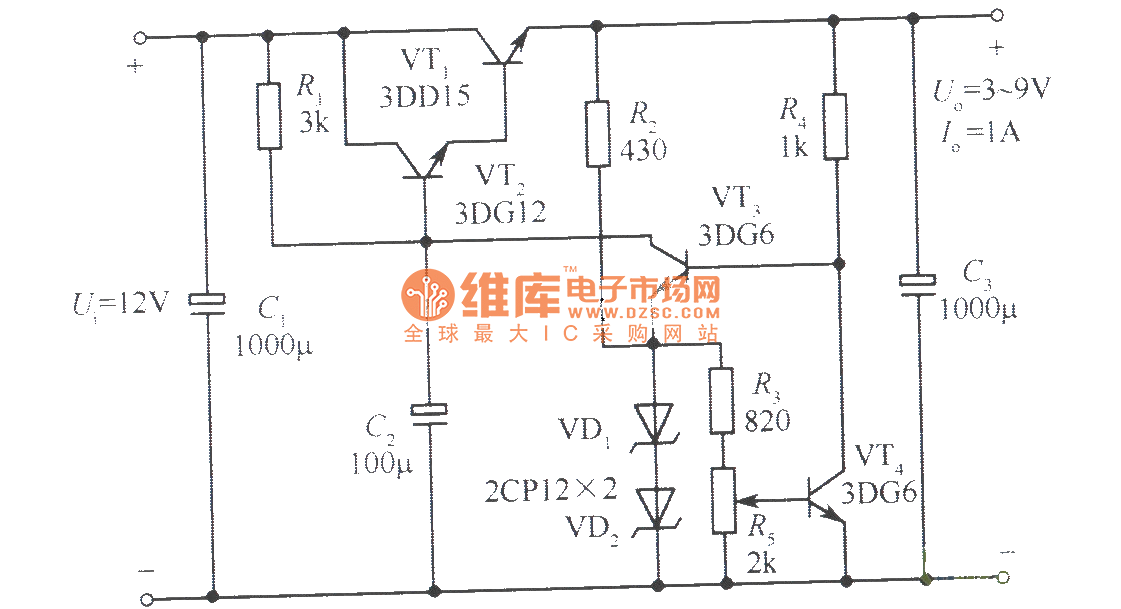 3 uff5e9v adjustable regulated power supply circuit with 1