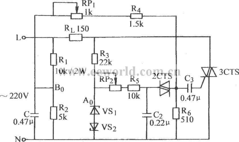 triac ac steady voltage circuit - control circuit - circuit diagram