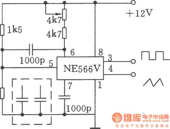 20khz waveform generator composed of ne566v - signal processing - circuit diagram