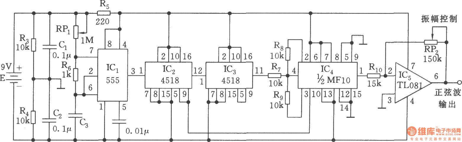 Sine wave generator circuit(555) - 555_Circuit - Circuit Diagram