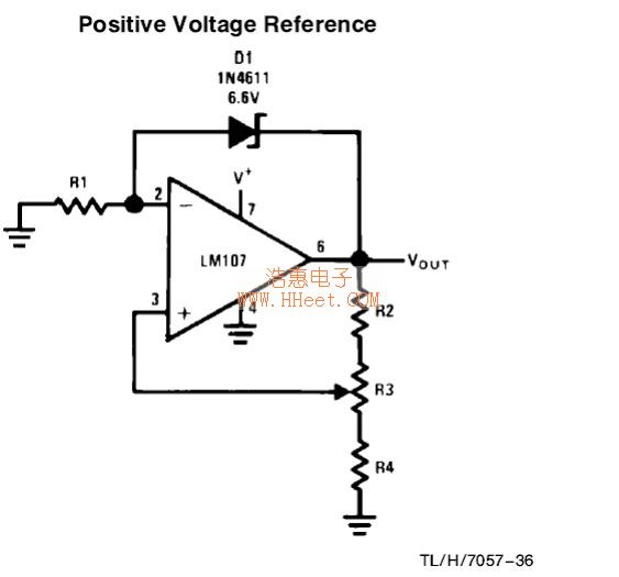 Positive Voltage Reference Circuit - Basic Circuit - Circuit Diagram