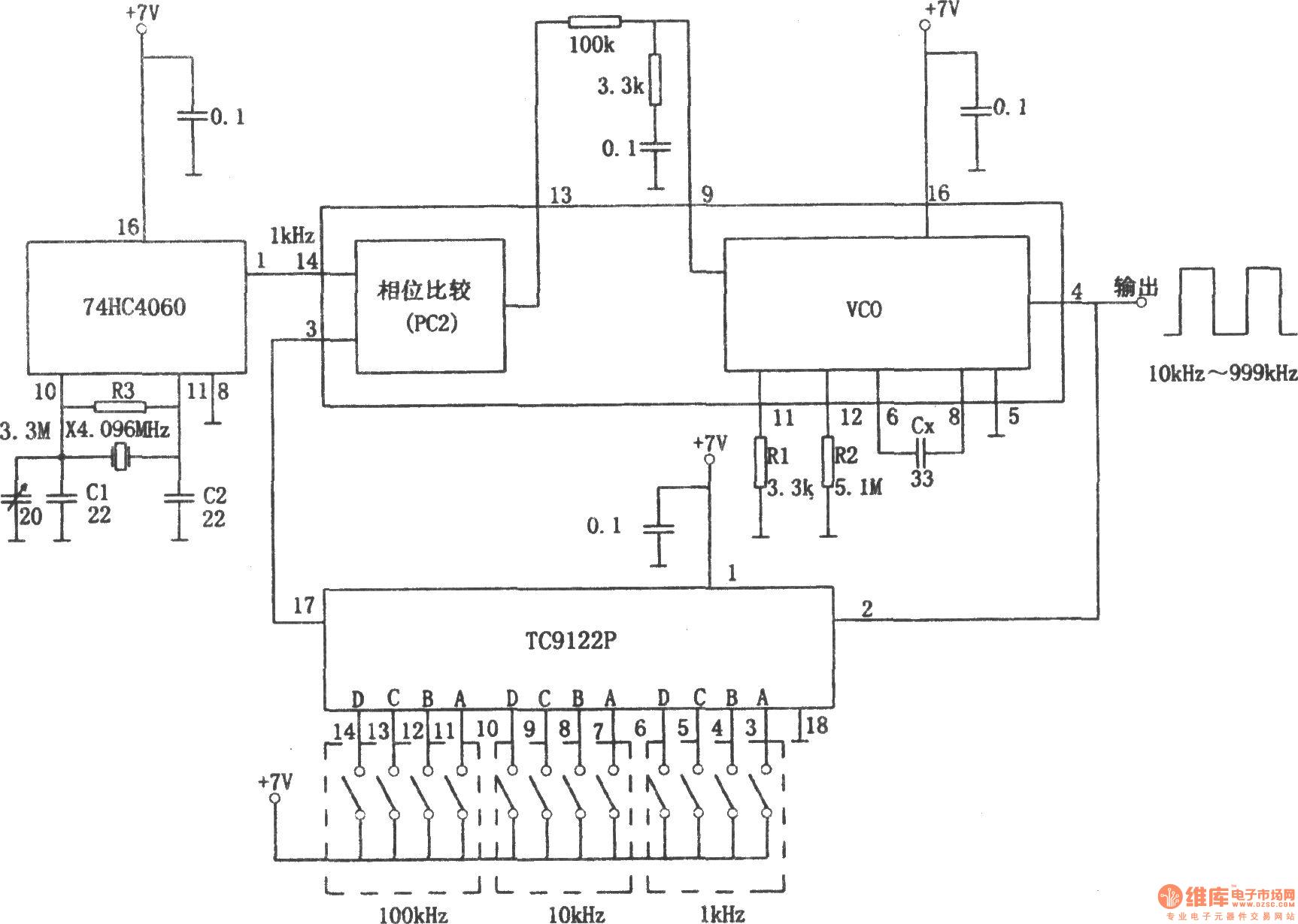 pll pulse generator 74hc4060 u3001tc9122p  - pulse signal generator - signal processing