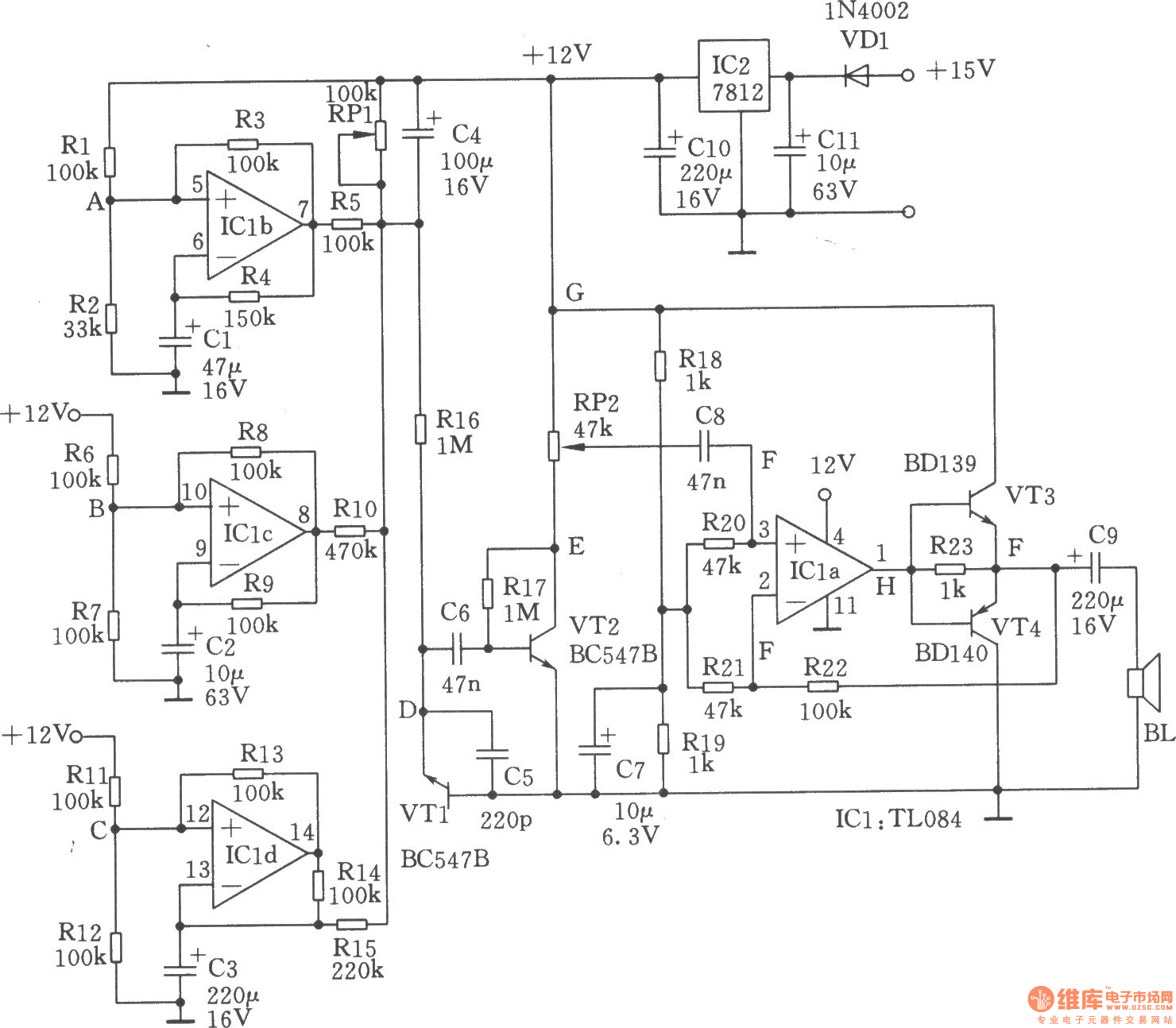 simple seashore generator - noise generator - signal processing - circuit diagram