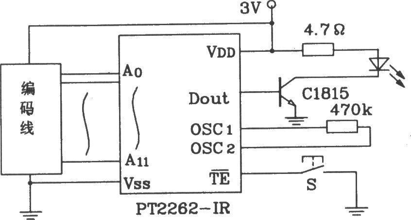 pt2262 ir and pt2272 infrared remote control transmitter and receiver integrated circuit diagram