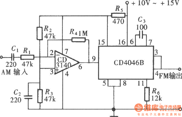 the frequency-modulated signal generator composed of cd4046 - signal processing