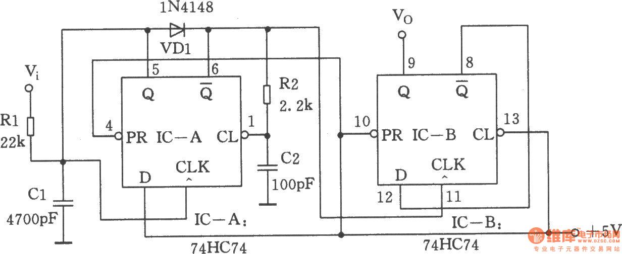 dual d flip-flop vco - oscillator circuit - signal processing - circuit diagram