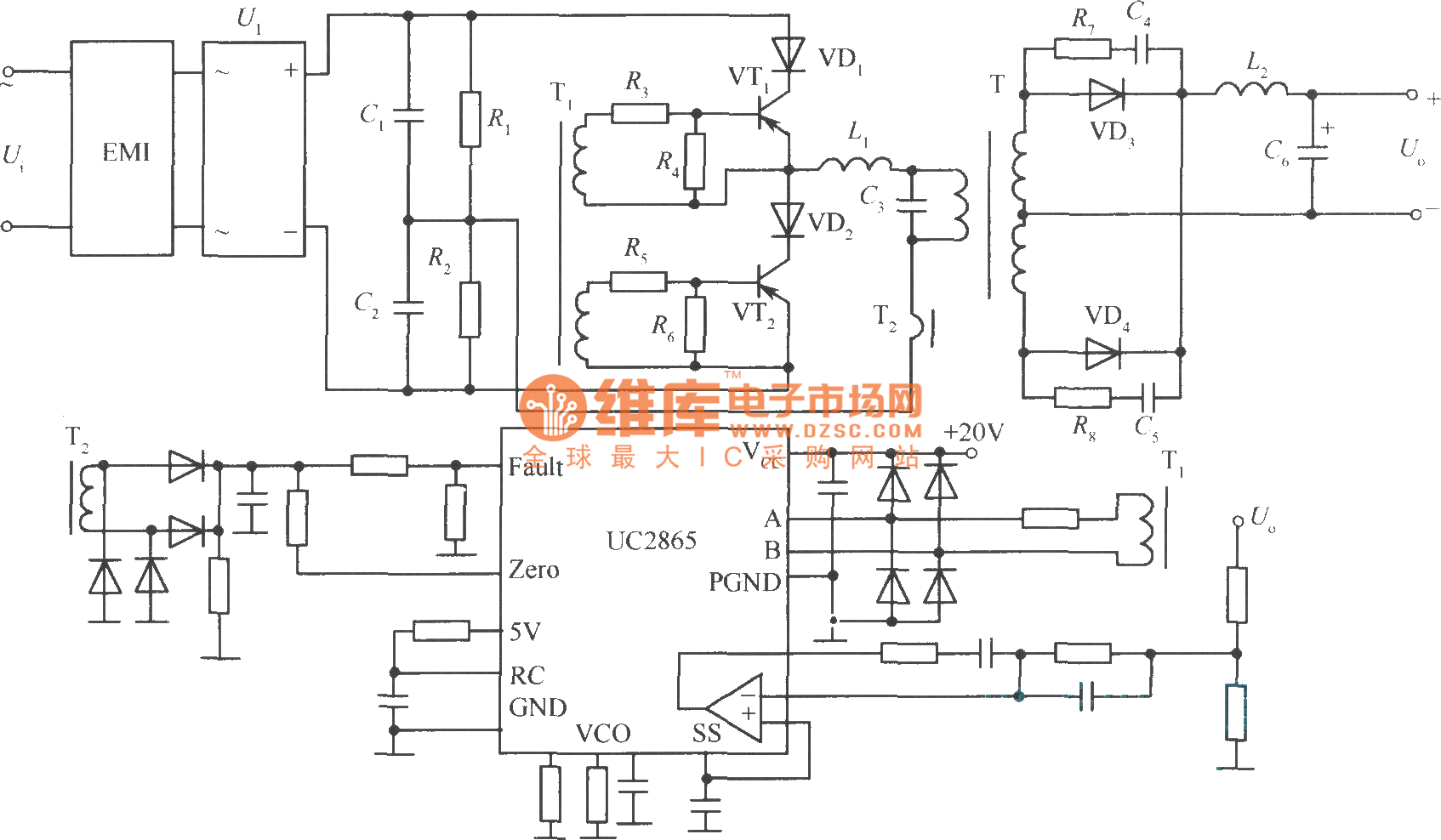practical circuit of zero current switching soft switching stabilized voltage supply