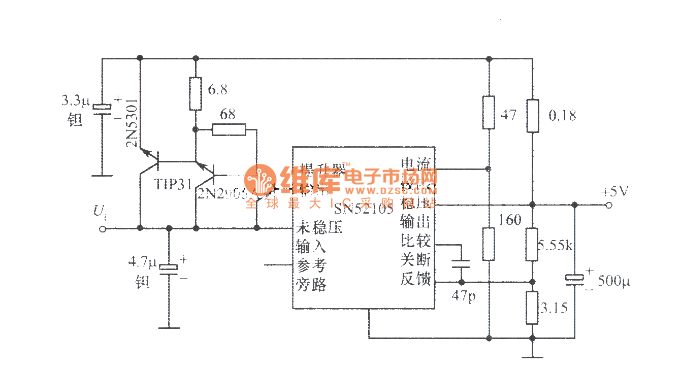 5v u300110a regulated power supply composed of sn52105