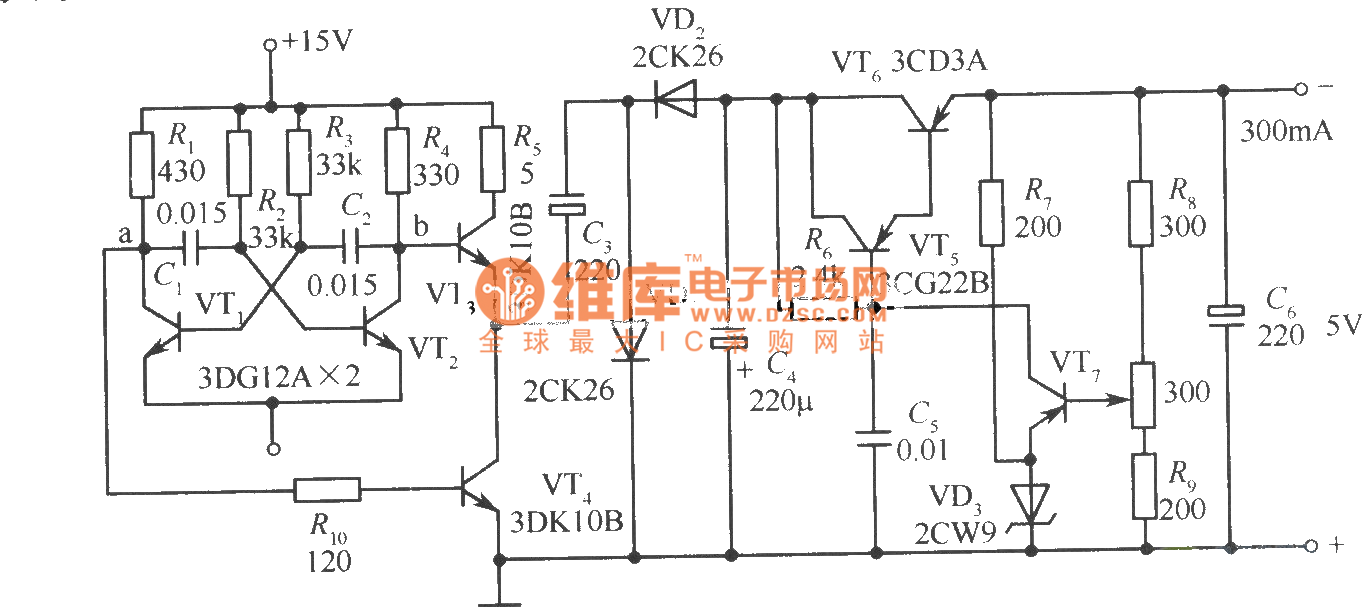 Regulated Power Supply Circuit Changed 15v Into 5v Diagram And
