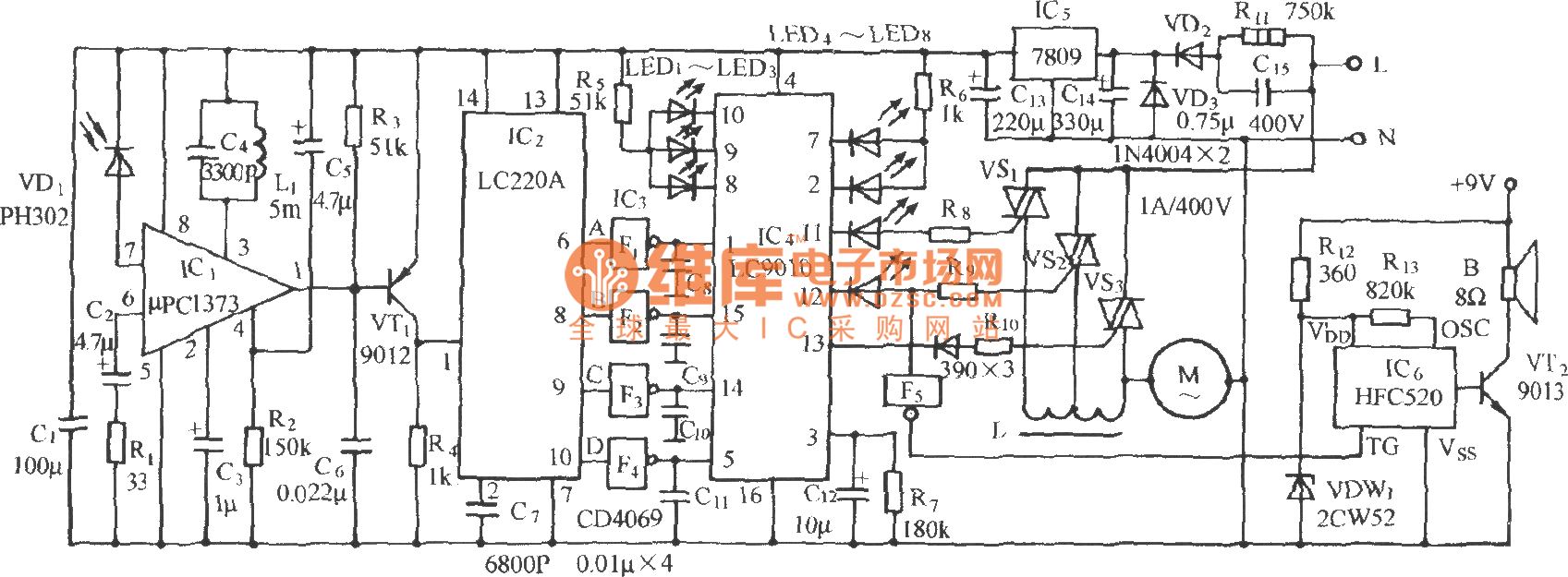 multifunction infrared remote control fan circuit lc219  lc220  - automotive circuit