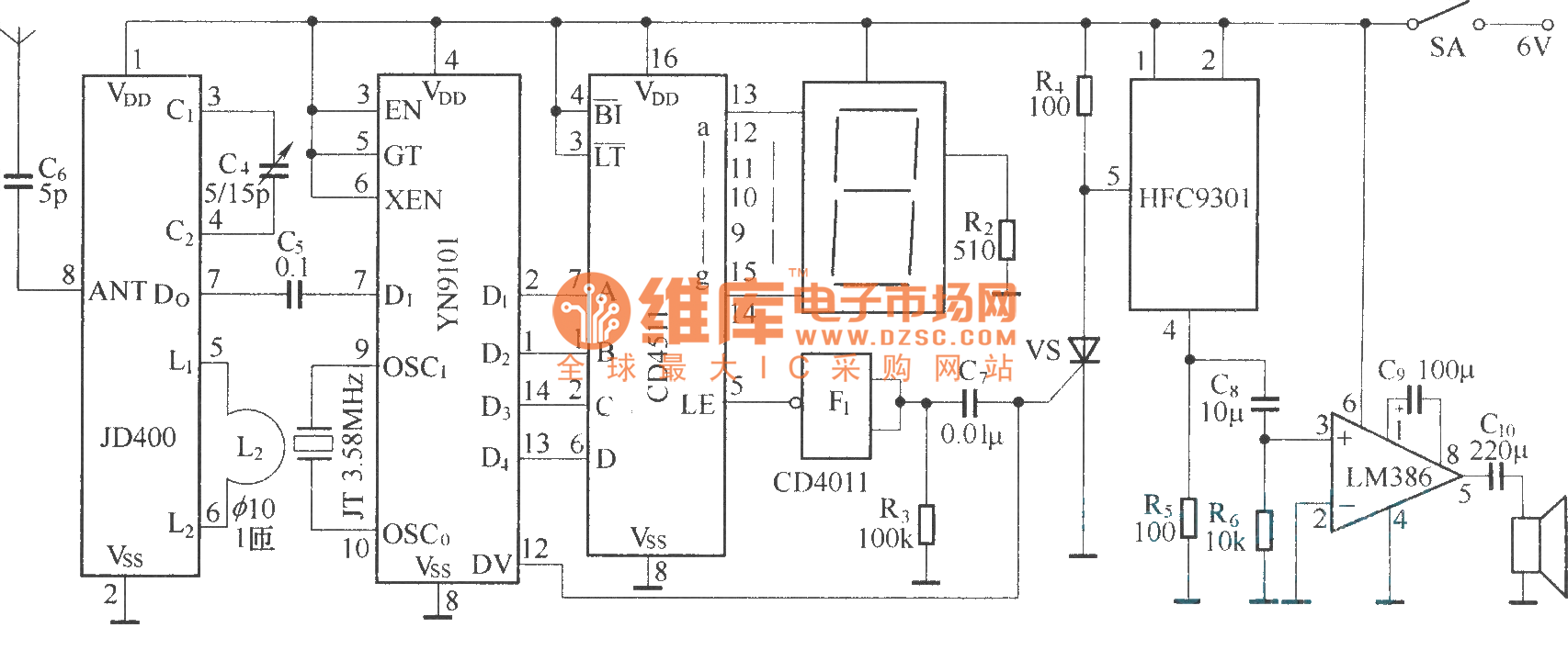 Composed Of Fdd400 1 And Jdd400 Digital Wireless Bleep System Circuit Diagram For
