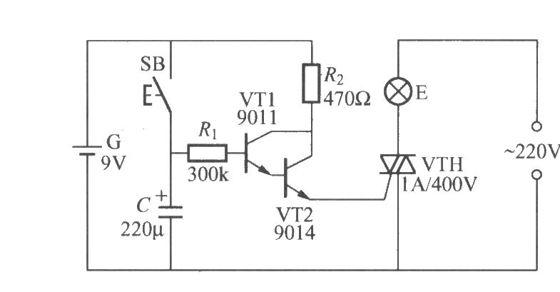 delay light circuit with battery