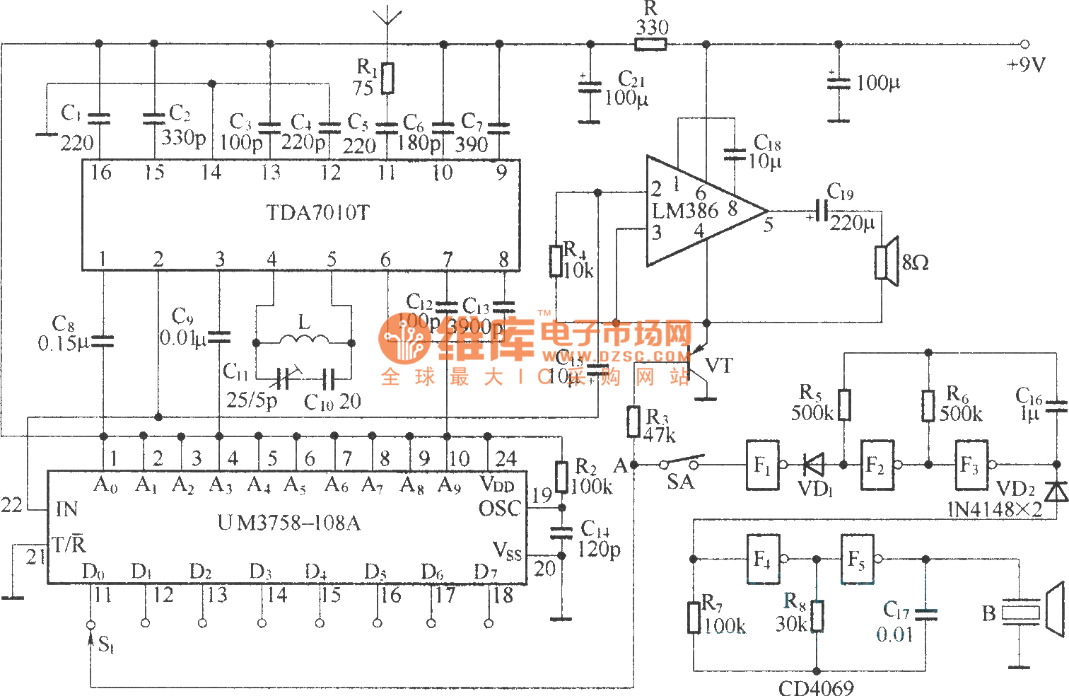Small Wireless Call System Circuit Diagram Ba1401 Tda7010t Amenvelopedetector Measuringandtestcircuit