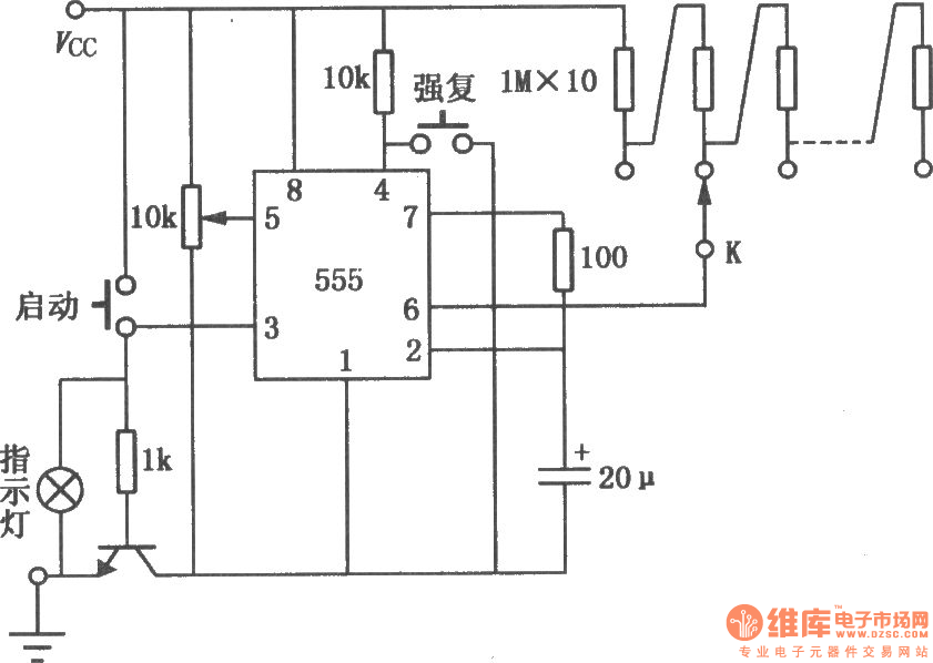precise timing circuit composed of 555