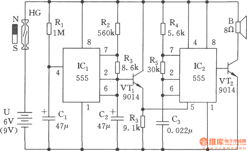 the multivibrator circuit with variable pitch oscillator_circuitthe multivibrator circuit with variable pitch